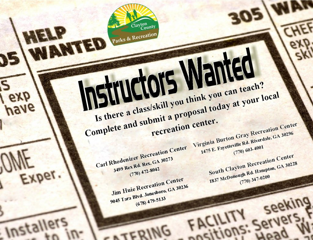 Instructors Wanted – Clayton County Parks